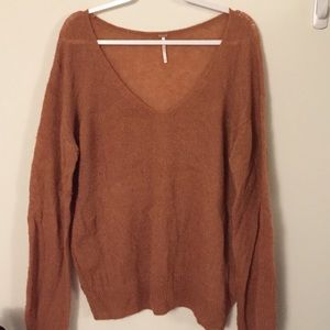 Free People Gossamer V-Neck Sweater in Terracota
